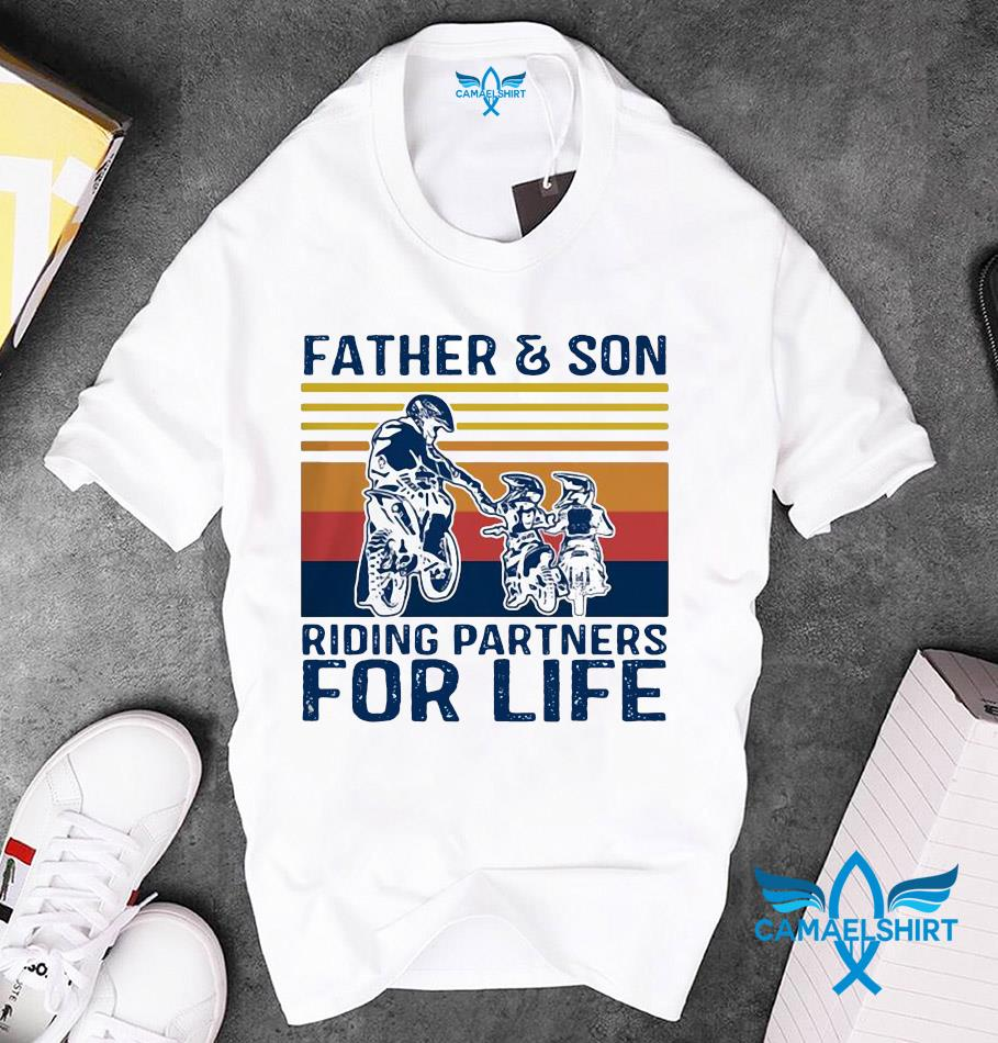 Father and son riding partners for life vintage Fathers day unisex t-shirt