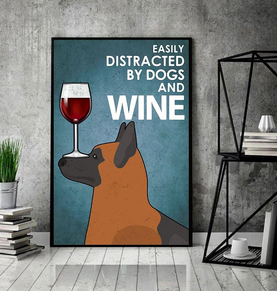 German Shepherd easily distracted by dogs and wine poster canvas