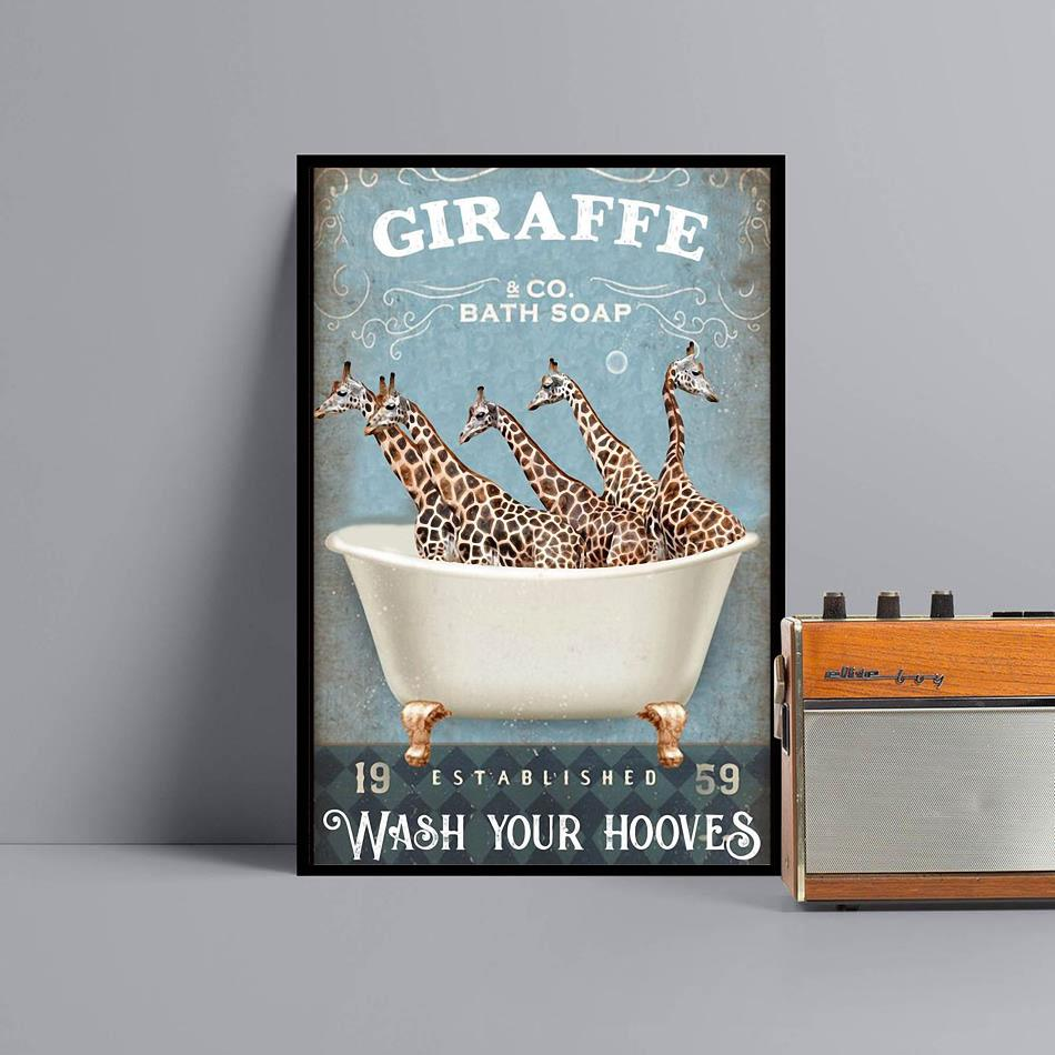 Giraffe bath soap wash your hooves wrapped canvas black