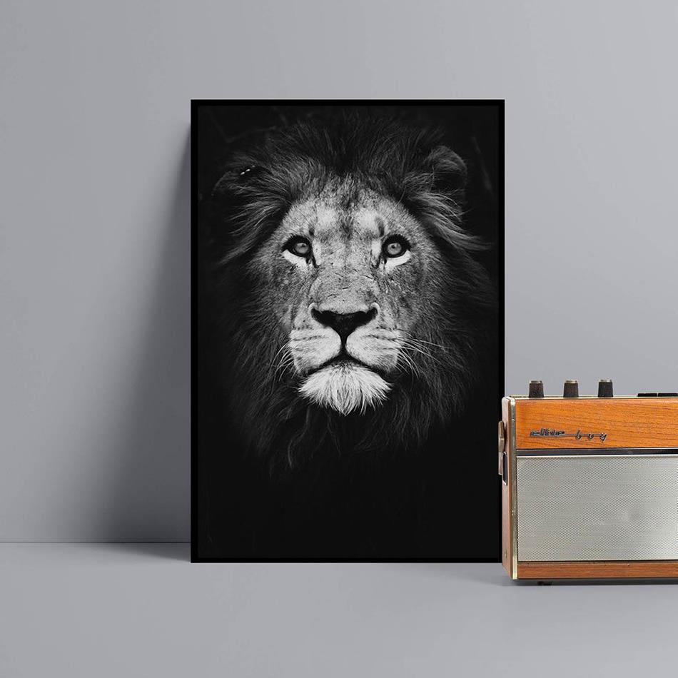 Lion dark painting animal wall art canvas black