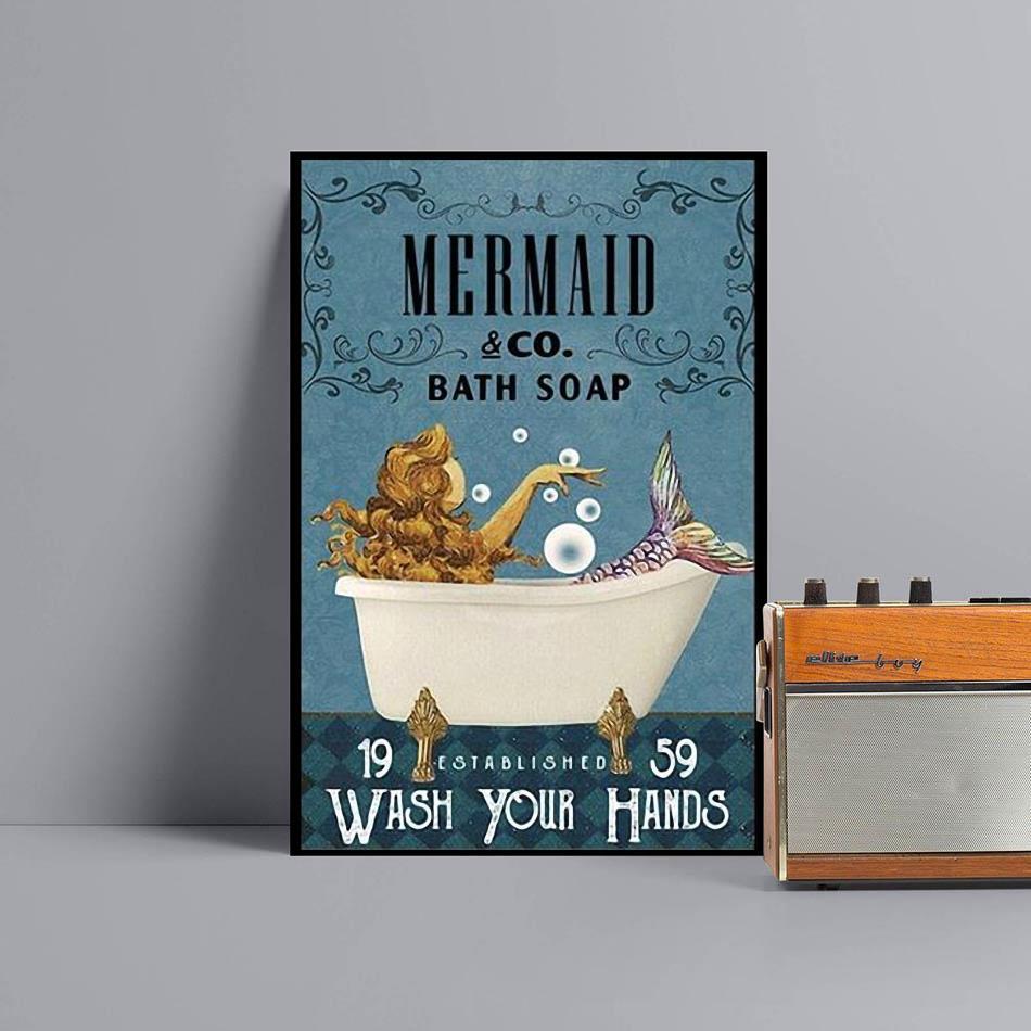 Mermaid co bath soap wash your hands poster canvas black