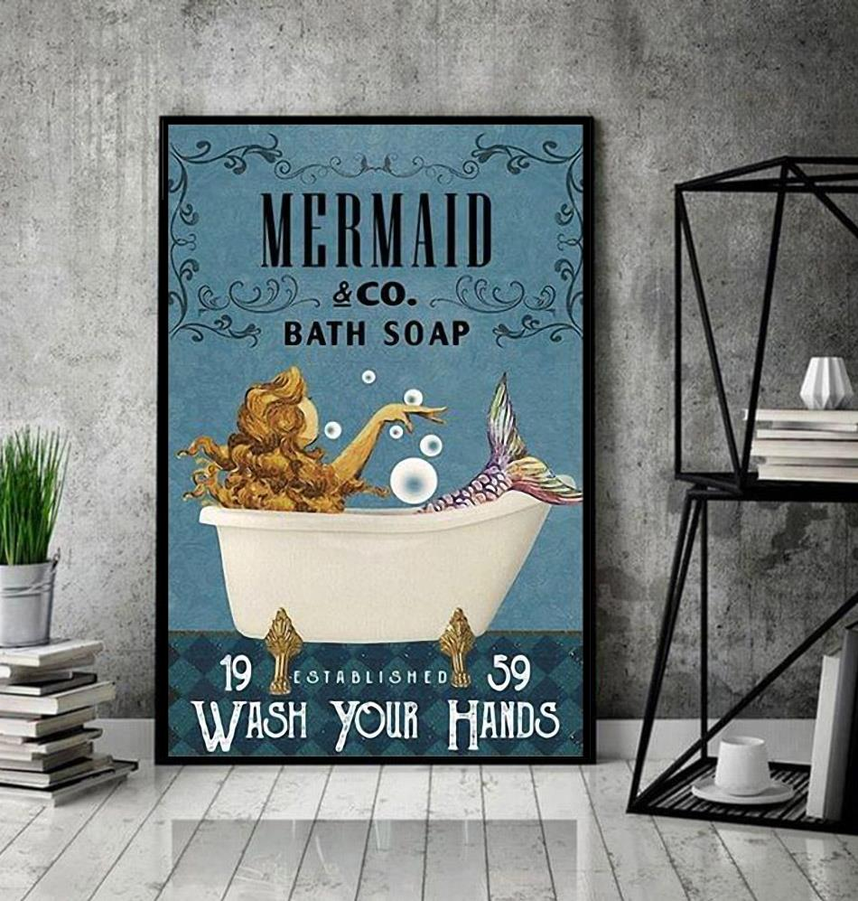 Mermaid co bath soap wash your hands poster canvas