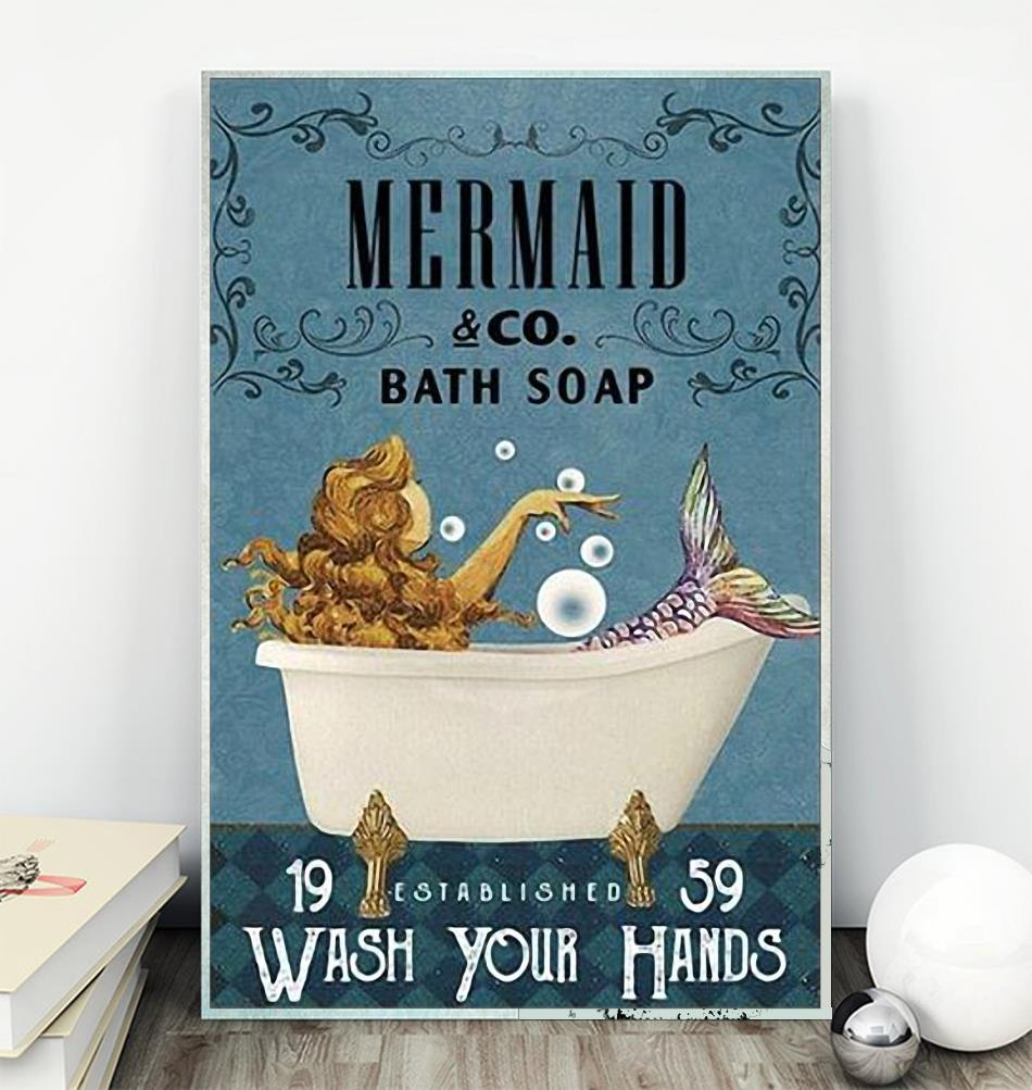 Mermaid co bath soap wash your hands poster canvas wall