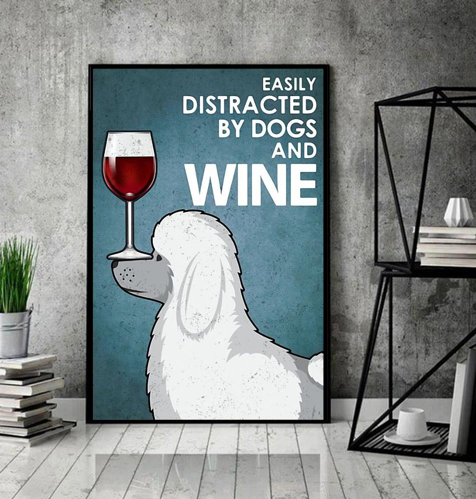 Poodle easily distracted by dogs and wine wrapped canvas