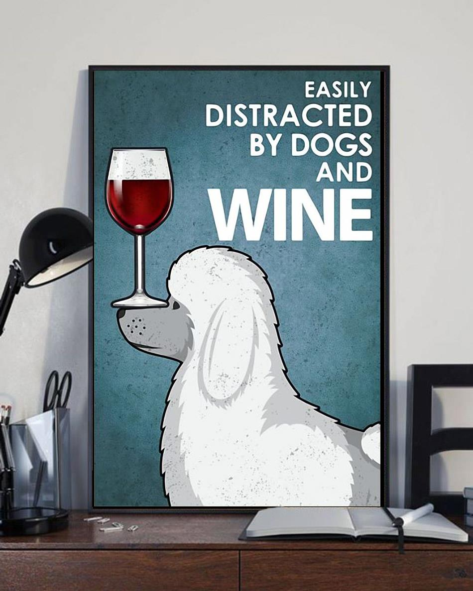 Poodle easily distracted by dogs and wine wrapped canvas full size