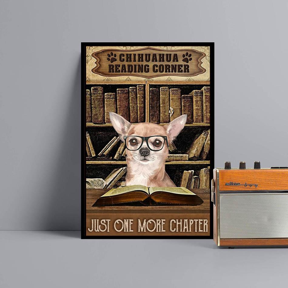 Reading corner book chihuahua vertical poster canvas black