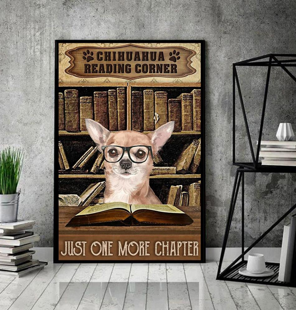 Reading corner book chihuahua vertical poster canvas