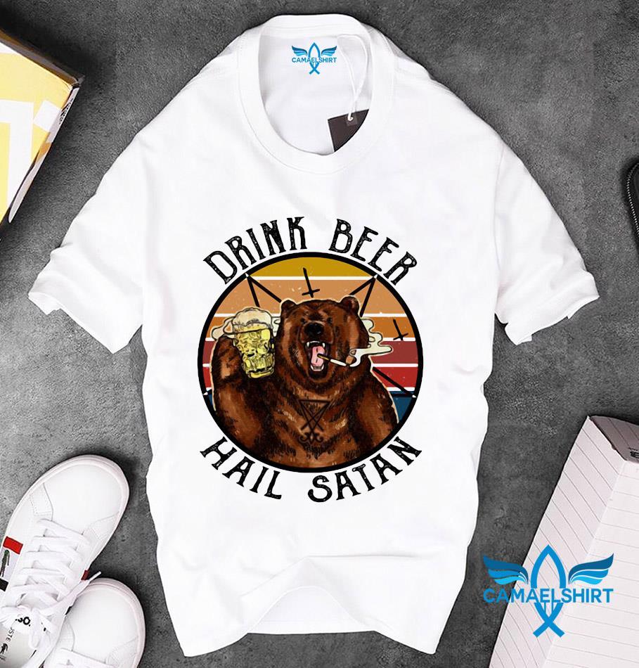 Retro vintage bear drink beer hail satan unisex t-shirt