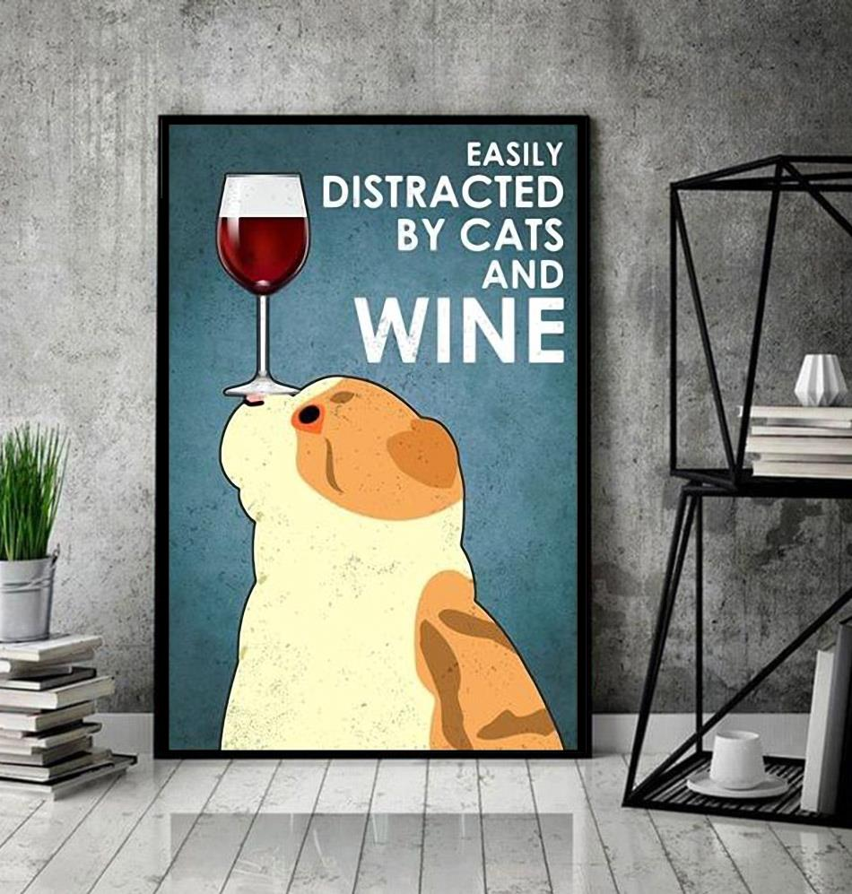 Scottish Fold easily distracted by cats and wine poster