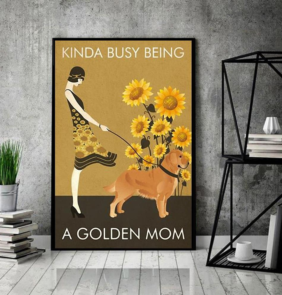 Sunflower vintage girl kinda busy being Golden Mom poster