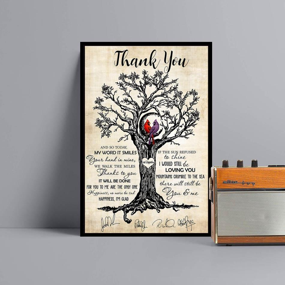 Thank you Led Zeppelin Cardinal wall art canvas black