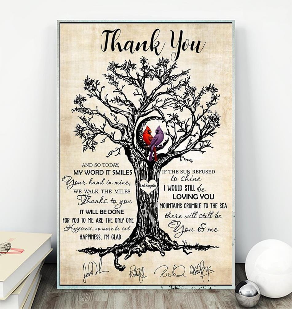 Thank you Led Zeppelin Cardinal wall art canvas wall