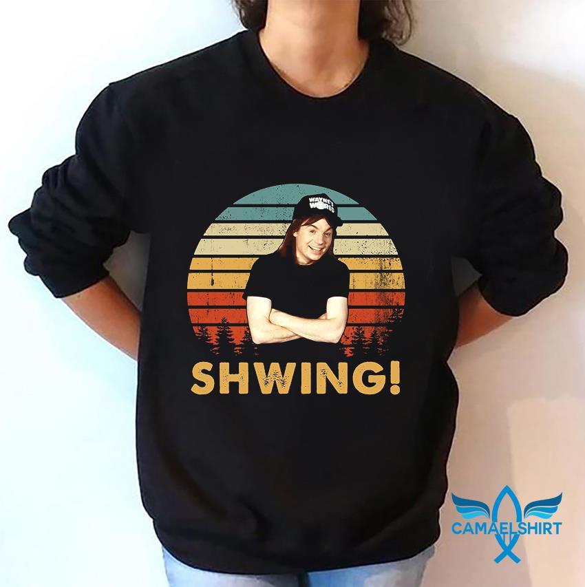 Wayne Campbell shwing vintage sweatshirt