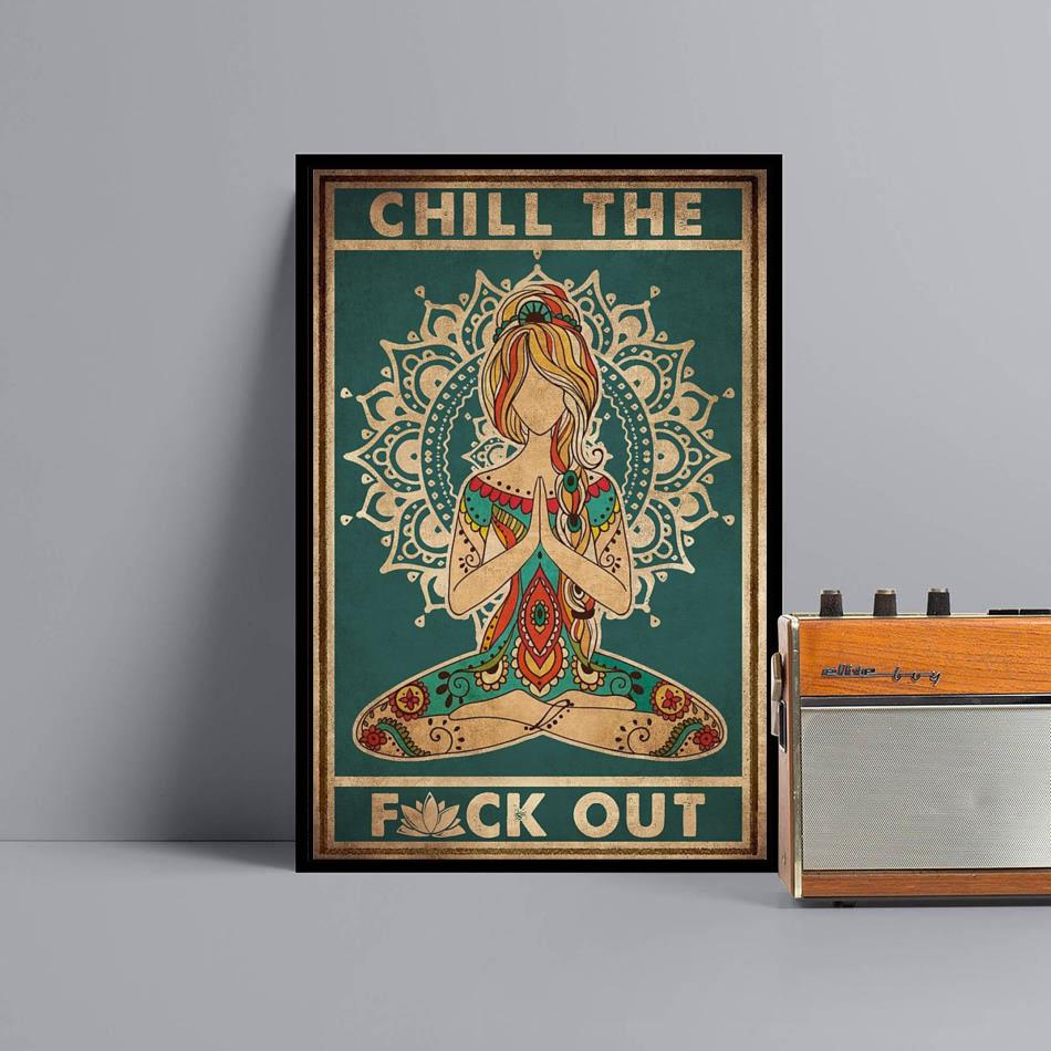 Yoga chill the fuck out vintage poster black