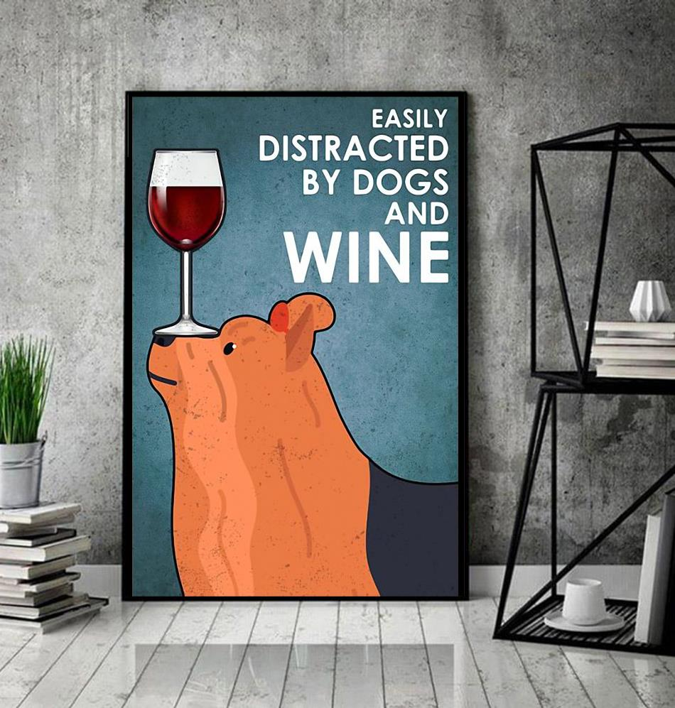 Yorkshire Terrier easily distracted by dogs and wine poster canvas