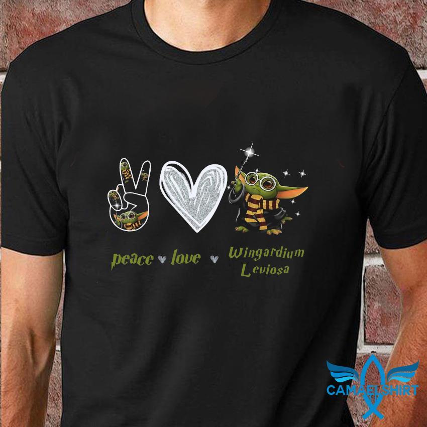 Baby Yoda peace love wingardium leviosa t-shirt