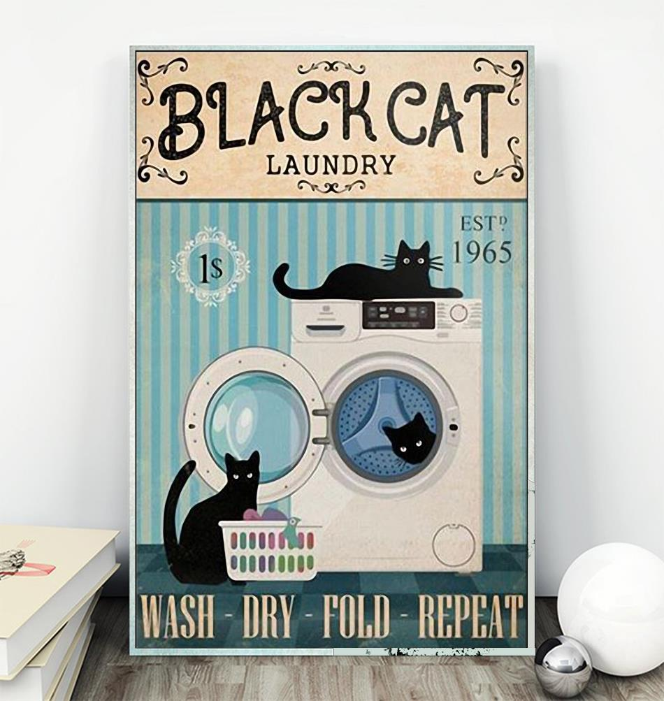 Black cat laundry wash dry fold repeat poster wall