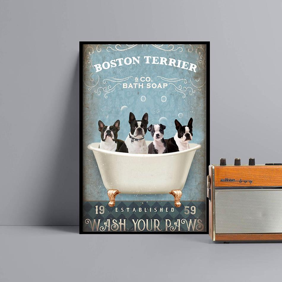 Boston Terrier bath soap wash your paws wrapped canvas black
