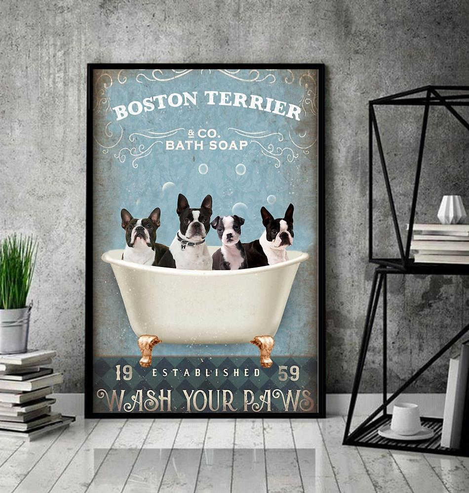 Boston Terrier bath soap wash your paws wrapped canvas