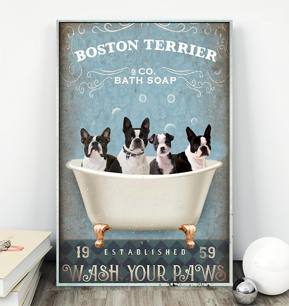Boston Terrier bath soap wash your paws wrapped canvas wall