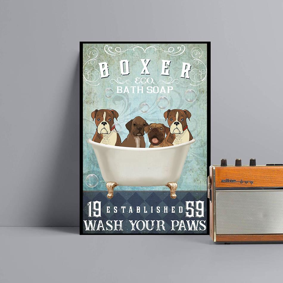 Boxer bath soap wash your hooves poster canvas black
