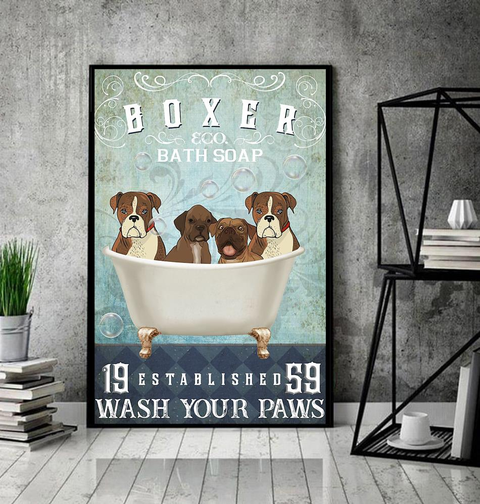 Boxer bath soap wash your hooves poster canvas