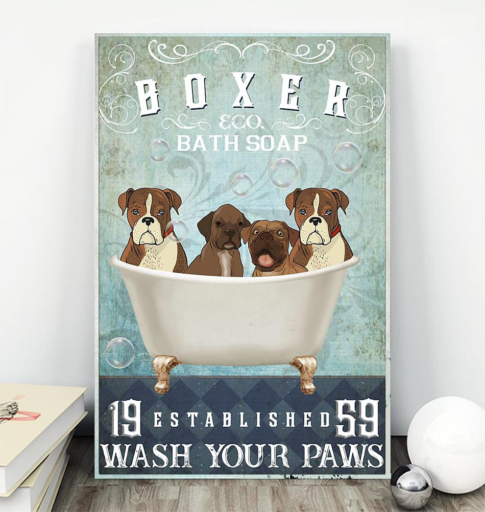 Boxer bath soap wash your hooves poster canvas wall
