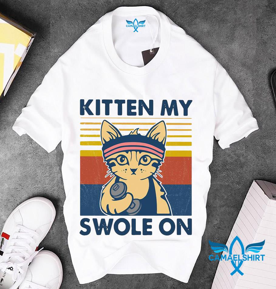 Cat kitten my swole on vintage t-shirt