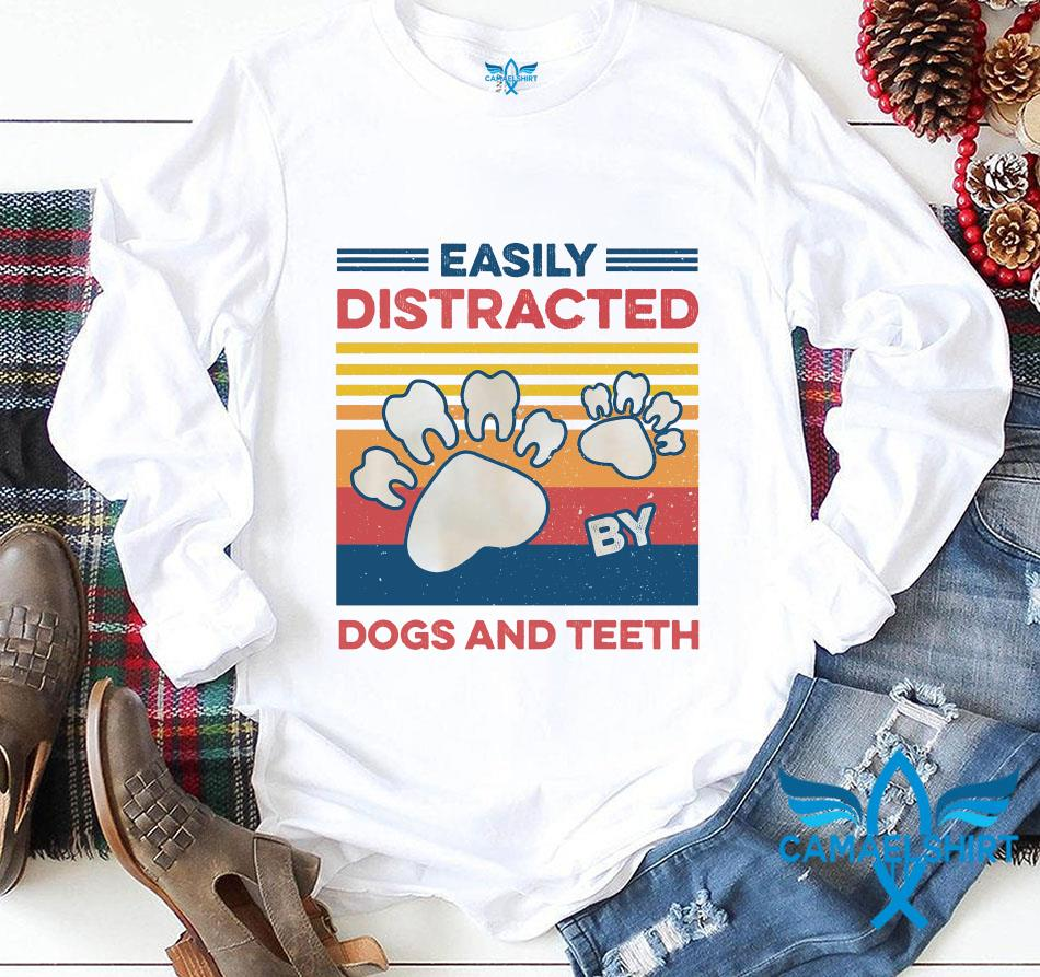Easily distracted dogs and teeth vintage t-s longsleeve