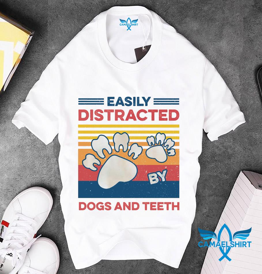 Easily distracted dogs and teeth vintage t-s unisex