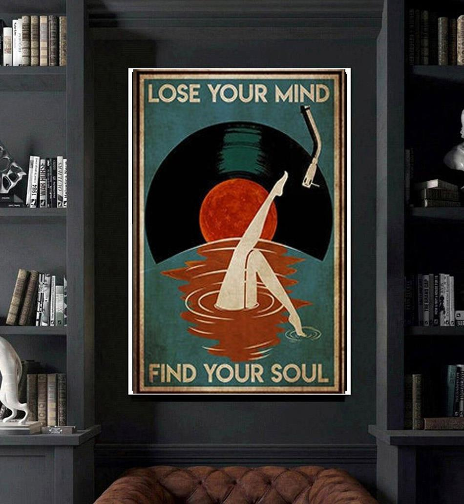 Mermaid Vinyl lose your mind find your soul poster canvas art