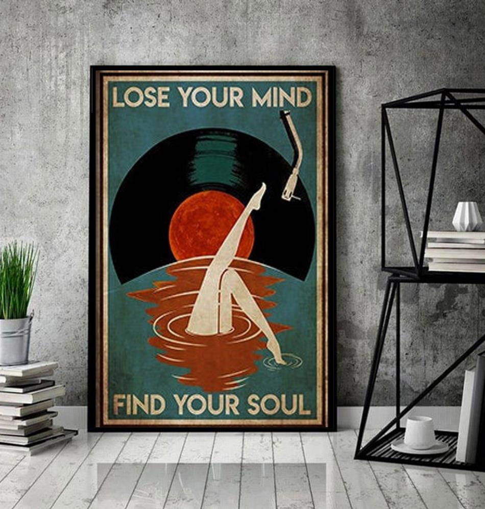 Mermaid Vinyl lose your mind find your soul poster canvas