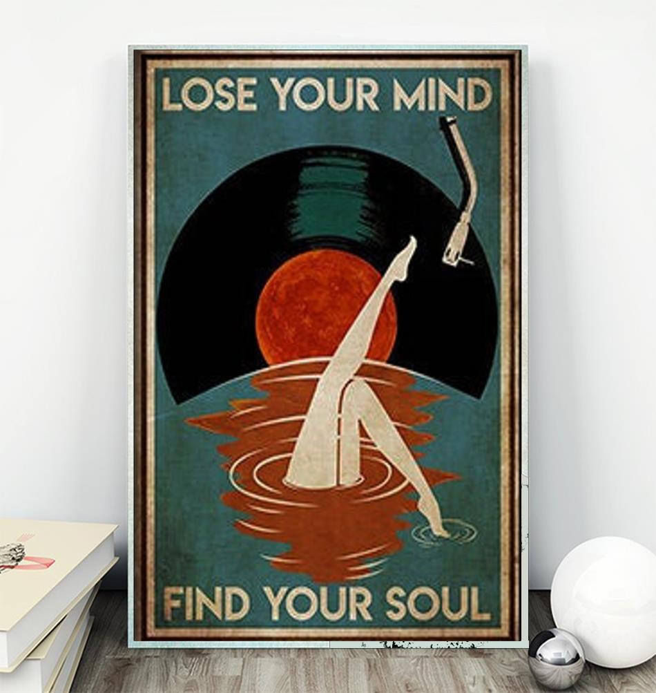 Mermaid Vinyl lose your mind find your soul poster canvas wall