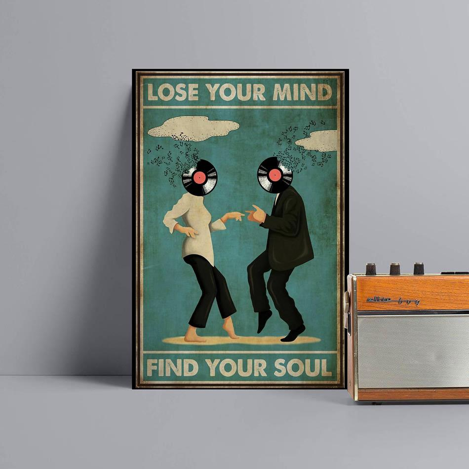 Mia Wallace and Vincent Vega dance lose your mind find your soul poster black