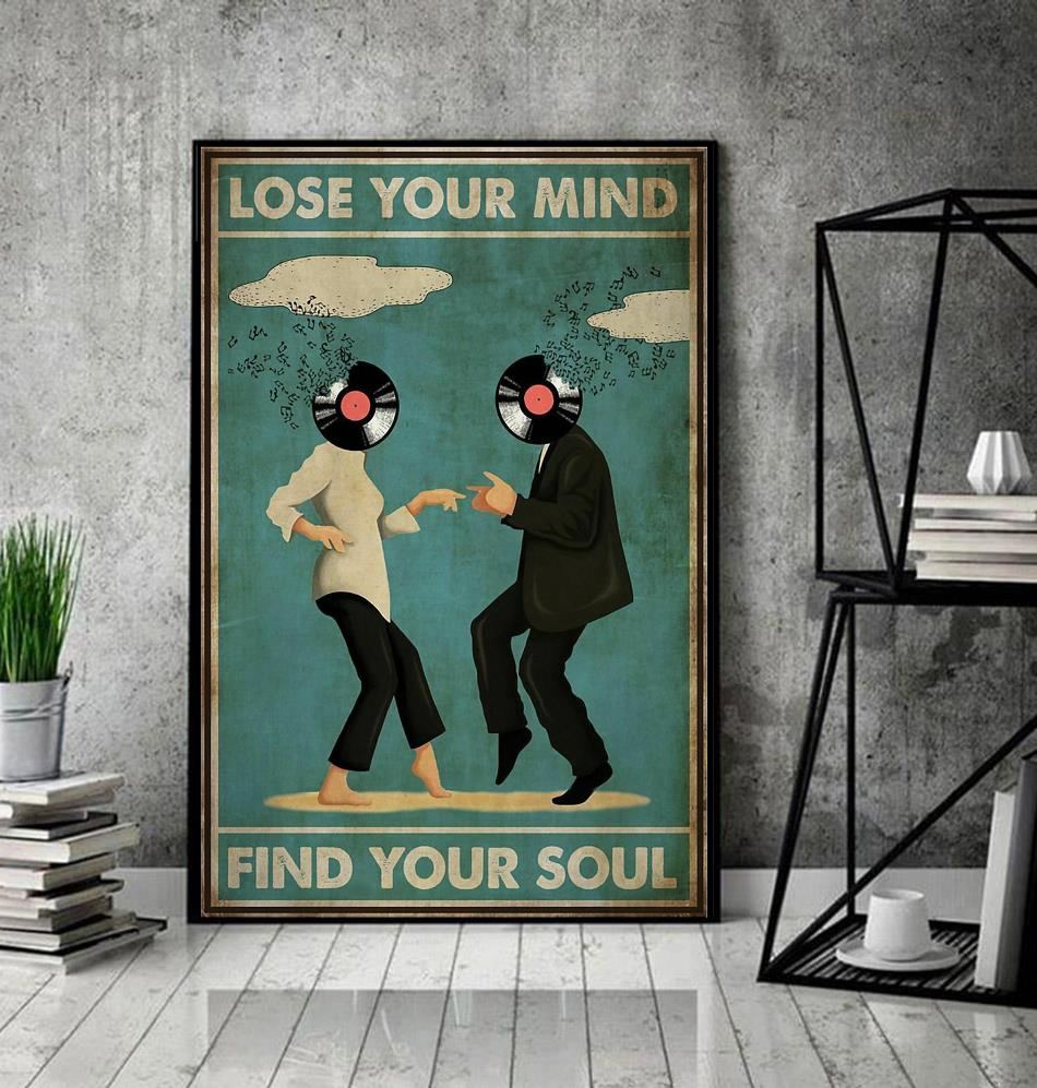 Mia Wallace and Vincent Vega dance lose your mind find your soul poster decor