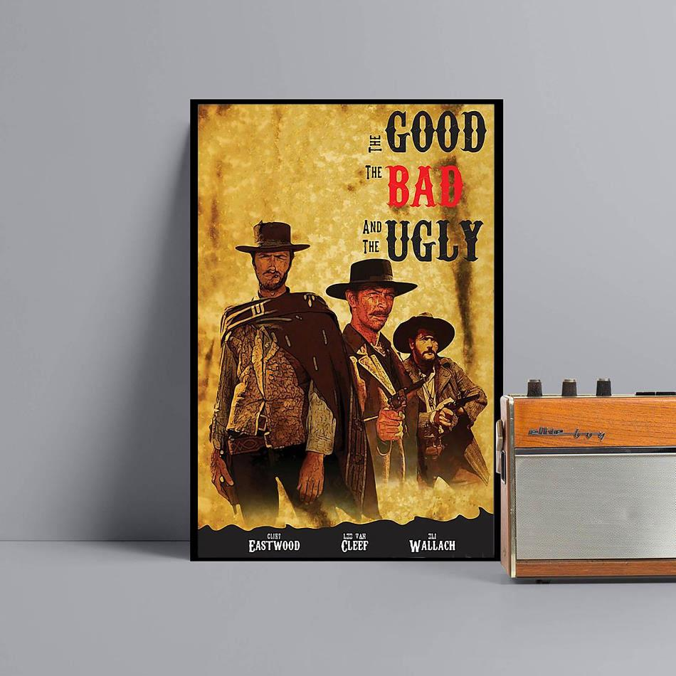 The Good The Bad and The Ugly movie art poster canvas black