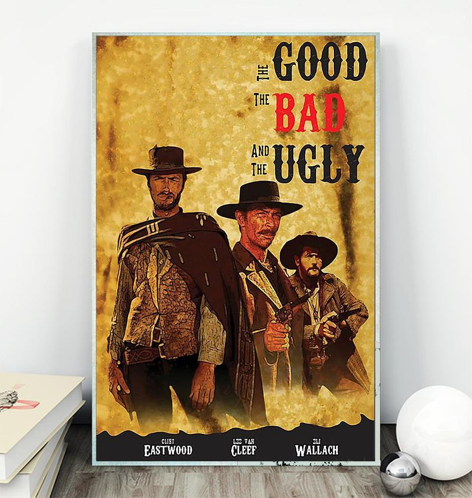 The Good The Bad and The Ugly movie art poster canvas wall