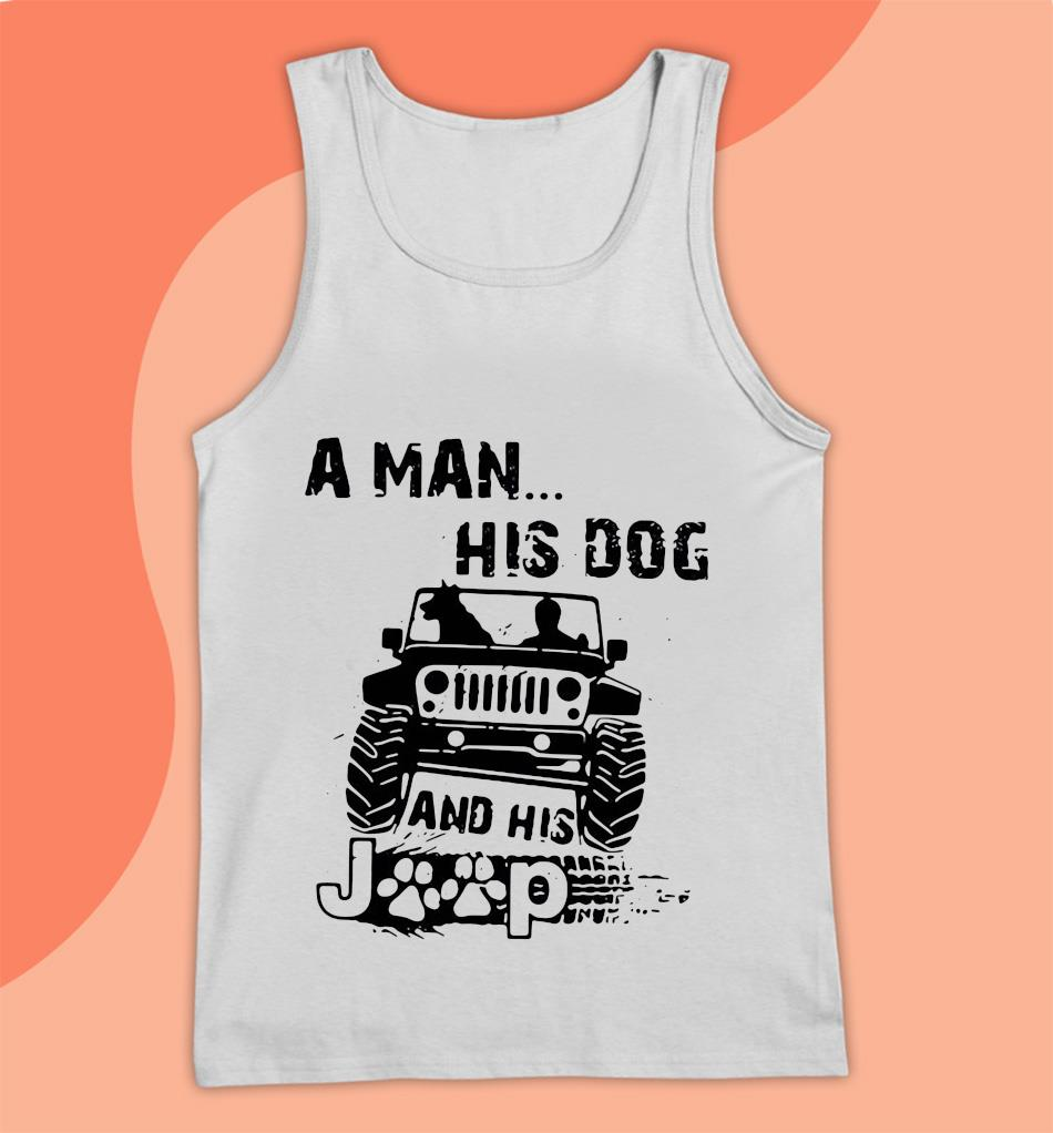 A man his dog and his Jeep t-s Tank top