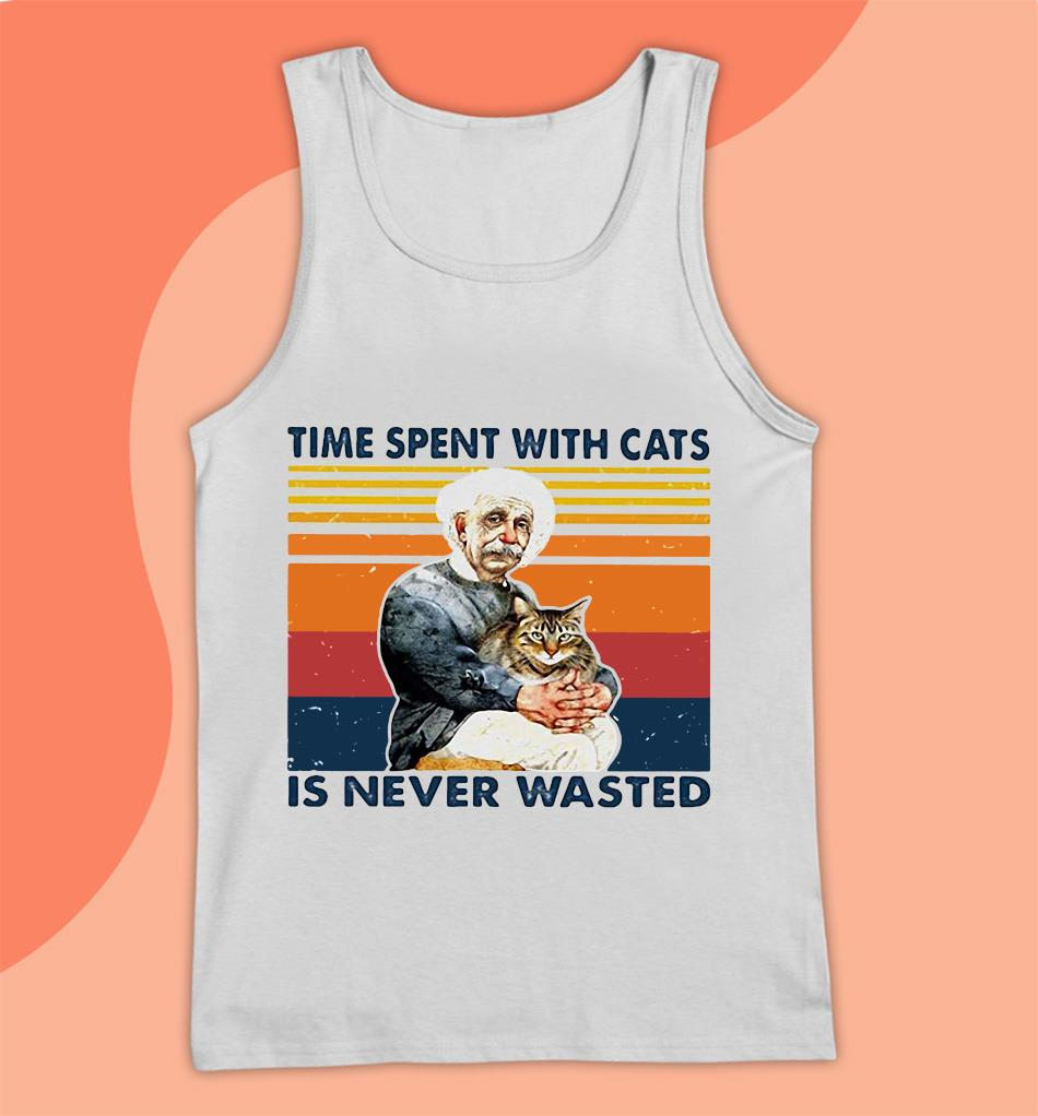 Albert Einstein time spent with cats is never wasted vintage t-s Tank top