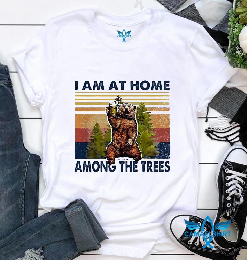 Bear beer I am at home among the trees vintage t-shirt
