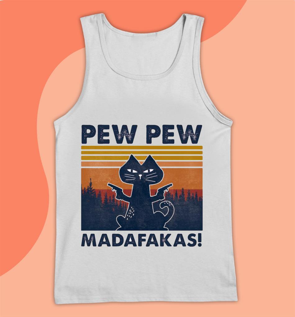 Black cat gun pew pew madafakas t-s Tank top