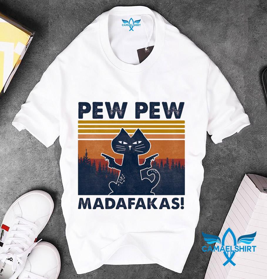 Black cat gun pew pew madafakas t-s unisex