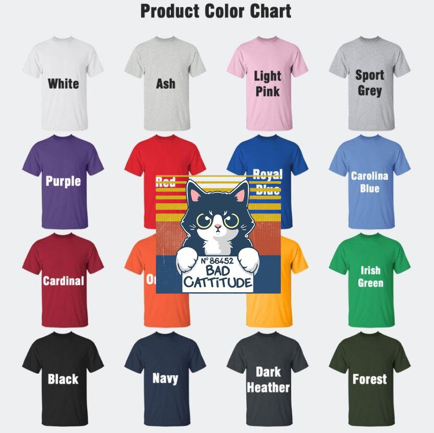Cat N 86452 bad cattitude vintage t-s Camaelshirt Color chart