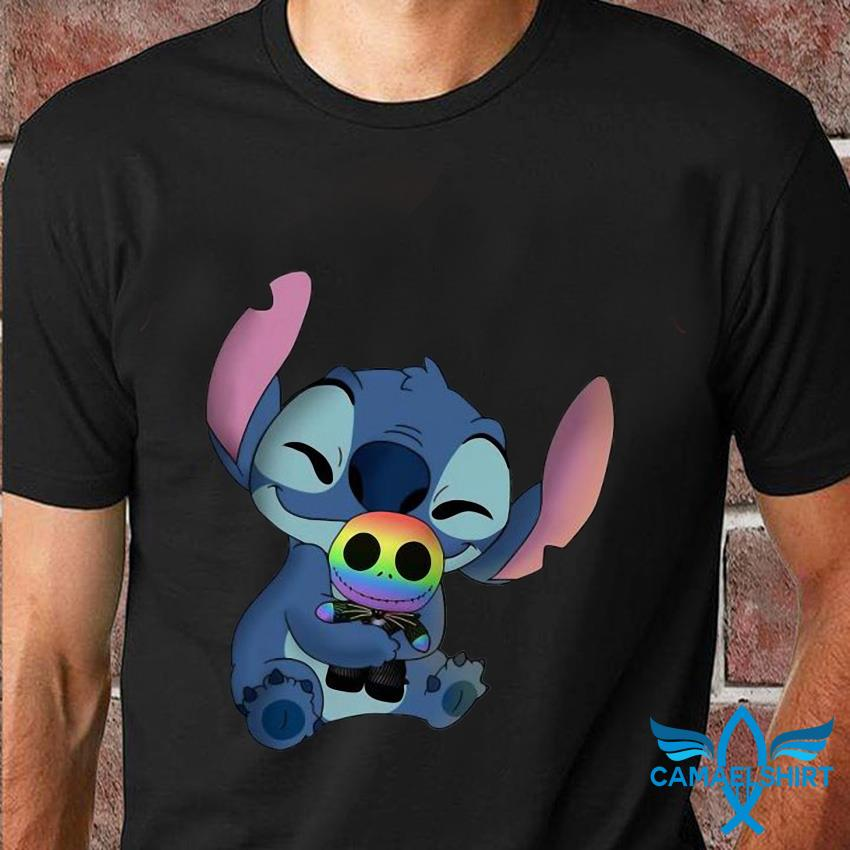 Cute Stitch hug Jack Skellington LGBT t-shirt