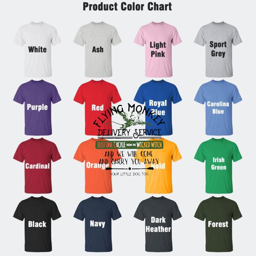 Halloween flying monkey delivery service wicked witch t-s Camaelshirt Color chart