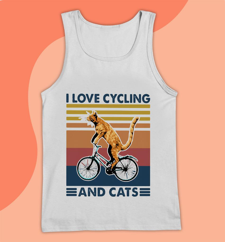 I love cycling and cats vintage t-s Tank top