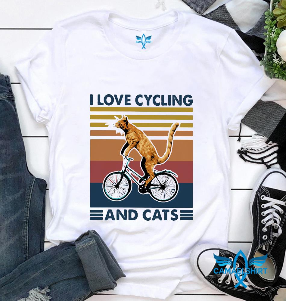 I love cycling and cats vintage t-shirt