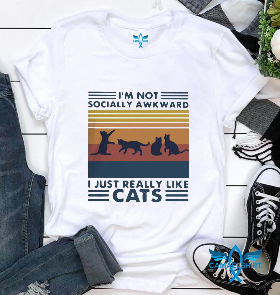 Im not socially awkward I just really like cats vintage t-shirt