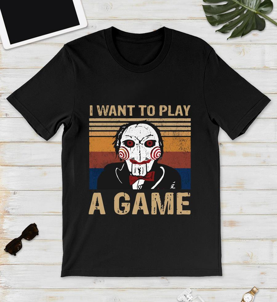 Jigsaw I want to play a game shirt vintage t-s unisex