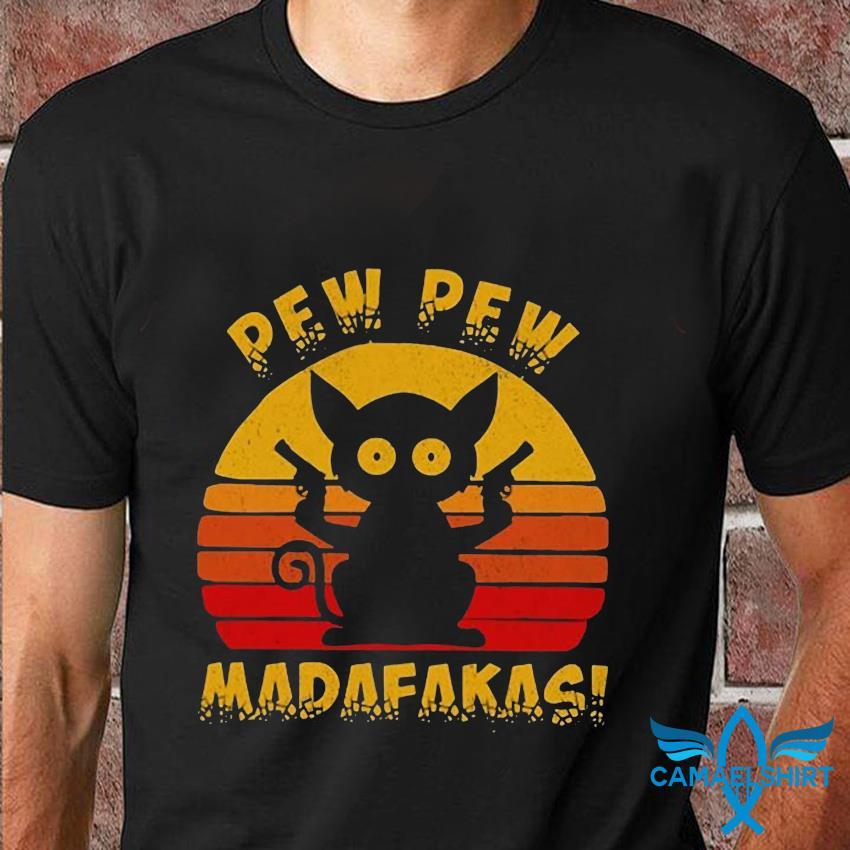 Sunset cat pew pew madafakas t-shirt